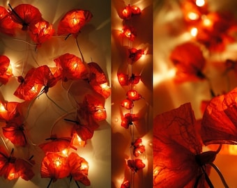String lights 20 tissue - red paper poppies