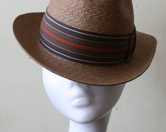 Golden Tan Woven Straw Vintage 50s Fedora Hat 6 3/4