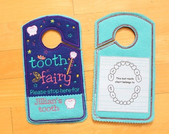 tooth chart, door hanger replaces Tooth fairy pillow,tooth fairy please stop here, custom name tooth fairy door hanger, personalized, TF133