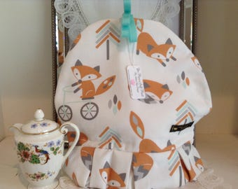 Tea Cozy, Foxes, large, Fully lined in Contrasting Fabric with Pleated Skirt - One of a kind.
