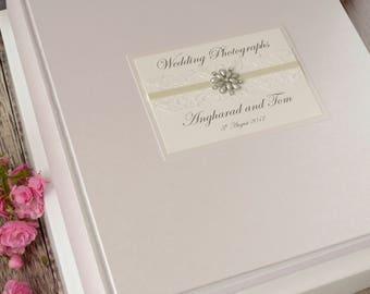 Large Personalised Wedding Photograph Album. 50 pages / 100 Sides. Vintage Lace & Jewel Wedding Photo Album. Wedding Gift. Wedding Keepsake.