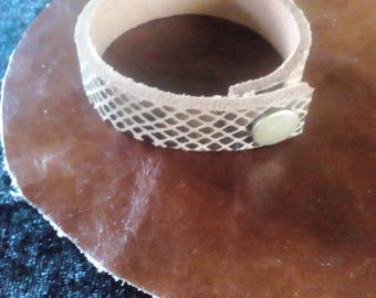 Bracelet with copper faux snap snakeskin leather
