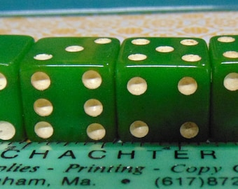 Vintage Bakelite Opaque Green Dice. Set of 4.