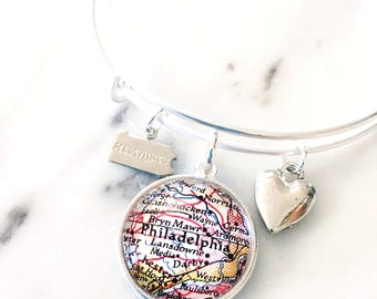 Philadelphia Bracelet - Philadelphia Jewelry - Charm Bracelet - Travel Bracelet - Wanderlust Bracelet - Gift for Her - Bridesmaid Gift