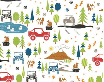 Jeep Fabric / J is For Jeep Fabric By Riley Blake. 100% cotton, c 6460 / Yardage and Fat Quarters