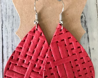 Red leather basketweave teardrop earrings!