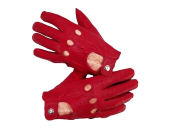 Sheepskin Genuine Red leather Driving  Gloves for Men