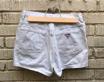 Vintage White Denim Shorts. Guess Jeans. High Waisted. Size 29.