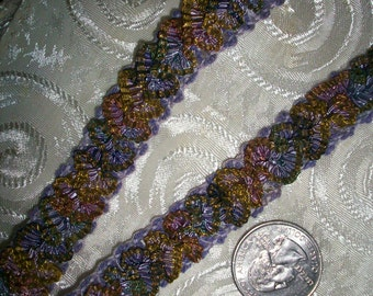 antique french silk ombre ruching in multi/lavenders with gold metal in ribbon RARE