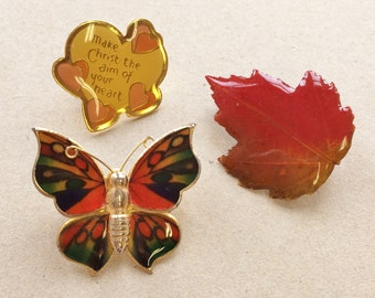 craft lot destash of small pins//butterfly leaf Jesus//metal plastic//assemblage jewlery supplies--mixed lot of 3 items