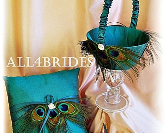 Peacock wedding Teal ring pillow and flower girl basket, peacock feather wedding accessories