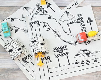 Set of 2 Construction Vehicle Playmats