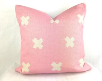 Pink cushion, light pink cushion, pink cross cushion, pink print cushion, baby pink cushion cover, pink throw pillow