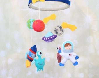 Space mobile Astronaut mobile Planets Mobile Boy cot mobile baby mobile galaxy mobile space nursery mobile felt crib mobile cosmos mobile