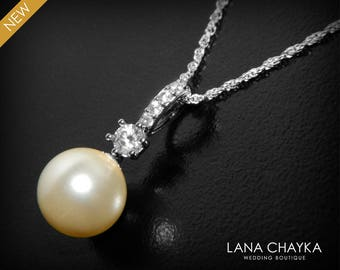 Pearl Bridal Necklace Swarovski 10mm Ivory Drop Pearl Wedding Necklace Single Pearl Sterling Silver Necklace Bridesmaids Pearl Jewelry