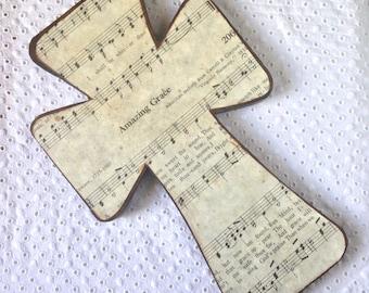 Amazing Grace grande croix de bois FAIT SUR COMMANDE