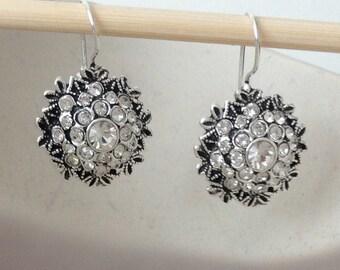Brides , Bridesmaids Gifts ,Swarovski Rhinestones Floral Stud Earrings