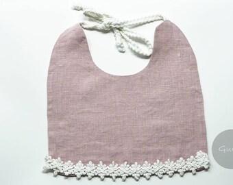 Handmade linen bib - Baby bib, Baby gift, Baby accessories, Drool bib, Baby shower gift, Linen bib, Baby outfit, Sweet pink bib