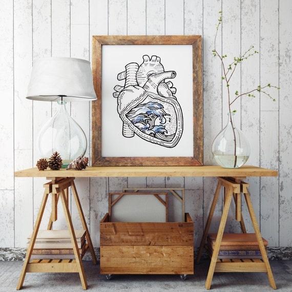 OCEAN HEART  | Wall art | Archival print paper poster | Surfer artwork | Japanese waves | Anatomical Heart | Tattoo Style art | Zuska Art