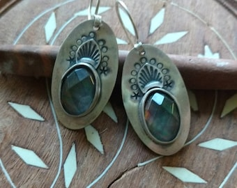 Northern Lights - Mother of Pearl and Sterling Silver Handmade, Artisan, Bohemian Silversmith Earrings
