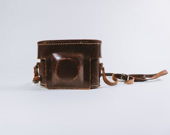 Small Vintage Brown Leather Camera Case