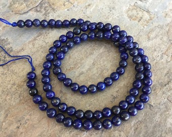 Lapis Beads, Round, Smooth, 4mm, 16 inch strand, Grade A