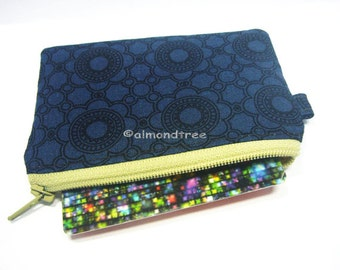 Majestic Blue id1370630, id work purse, small zipper coin pouch, wallet, credit card holder, gift for her, navy blue