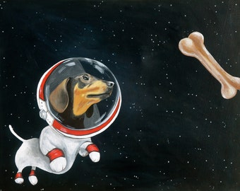 Dachshund space dog chasing space bone PRINT of original painting by Amy Yeager
