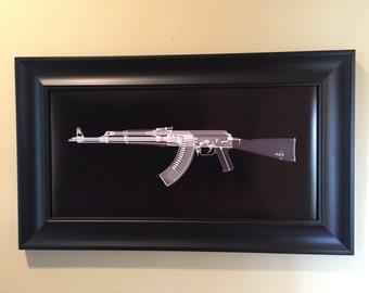 AK-47 CAT scan gun print - ready to frame