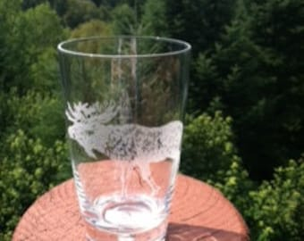 Moose Etched Glassware