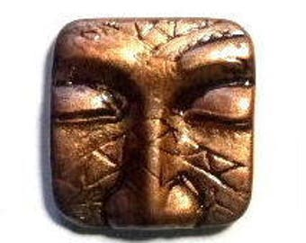 Tribal square face, face, polymer clay face, art, cabochon