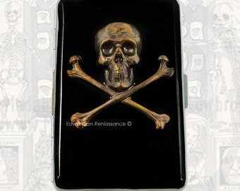 Metal Cigarette Case Skull and Cross Bones Inlaid in Hand Painted Glossy Black Enamel Neo Victorian Metal Wallet with Personalized Options