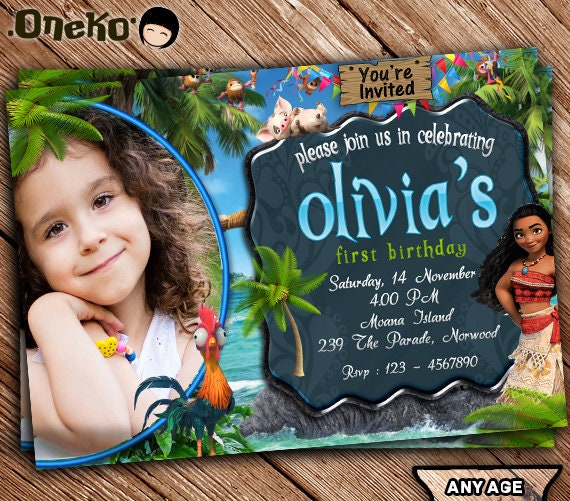 sale 50  off moana birthday invitation printable