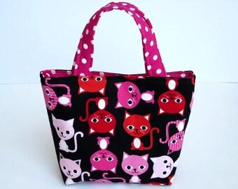 Girl's Bag, Mini Tote Bag, Kids Bag, Handbag for Girls, Bright Cat Fabric, Cat Gifts for Girls, Kids Cat Bag, Bag for Little Girl