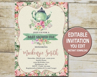 Tea party baby shower invitation etsy baby shower tea party invitation template editable you edit floral baby shower tea party shabby chic baby shower instant download p89 stopboris Choice Image
