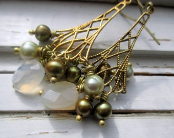 At the Eiffel earrings, freshwater pearls and brass dangle earrings, romantic earrings for her
