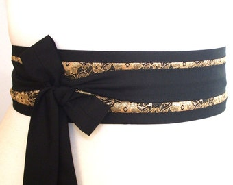 Gold lace overlay Black Obi belt add some gold to your evening dress or favourite outfit - black and gold sash