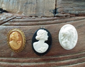 Vintage Cameo Lot of 3: One Pendant, Two Pins