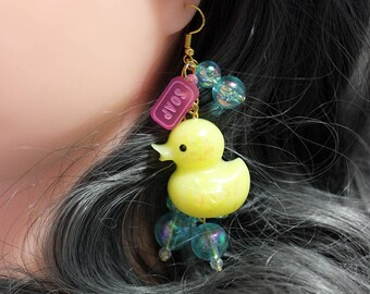 Rubber Ducky Glitter Earrings with Soap and Iridescent Bubbles