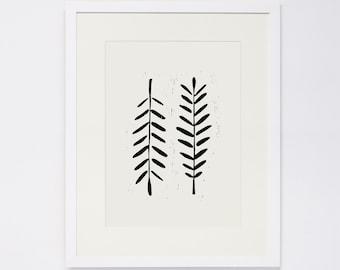 LEAVES, Linocut Print