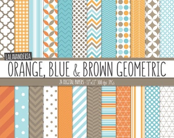 Geometric Digital Paper Package with Orange, Blue and Brown Backgrounds. Printable Papers Set - Geometric Patterns. Digital Scrapbook