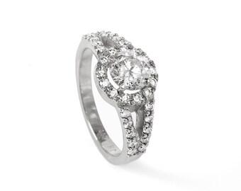 On Sale !!Diamond Ring 1.50 ct- Engagement ring - wedding band- promised ring - White gold -Bridal Jeweler- Wedding & Engagement-white gold