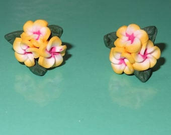Polymer Clay Earrings Three Yellow Plumeria Flowers with Leaves