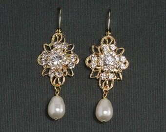 Gold Wedding Jewelry - Rhinestone Pearl Bridal Earrings, Chandelier Wedding Earrings, Gold Filigree Bridal Jewelry, Vintage Style - ISABELLA