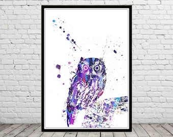 Owl, owl print, bird print, owl, watercolor owl, home decor, watercolor print bird, animal art, bird art, bird