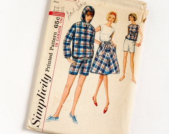 "Vintage 1960s Womens Size 12 Jacket Skirt Blouse Shorts Simplicity #5836 Sewing Pattern Complete b32 w25"" Retro Sporty Boating Resort Wear"