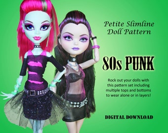 80s Punk Rock Dresses Doll Clothes PDF Sewing Pattern for Petite Slimline girls: High, Ever After, Monster, Dal, obitsu, Super Hero