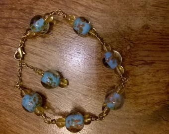 Blue and gold lampwork and Citrine bead bracelet