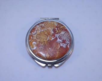Polymer Clay Embellished Compact Purse Mirror,Gold, Copper & Pearl Fleur de Lis