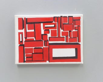 Abstract art on canvas, canvas painting, red art, squares art, wall art